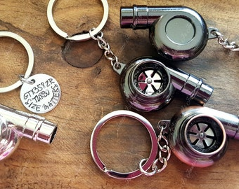 3D Turbo Keychain, Personalized Turbo HandStamped Keychain, Turbo Charger Keychain, Motorsports, Gift for Him, Turbo Keyring, Guy Gifts