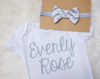 Silver Glitter Coming Home Outfit- silver bodysuit, personalized name bodysuit