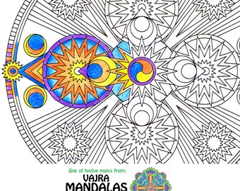 mandala coloring page space vajra printable art coloring page for meditation art therapy - Art Therapy Coloring Pages Mandala