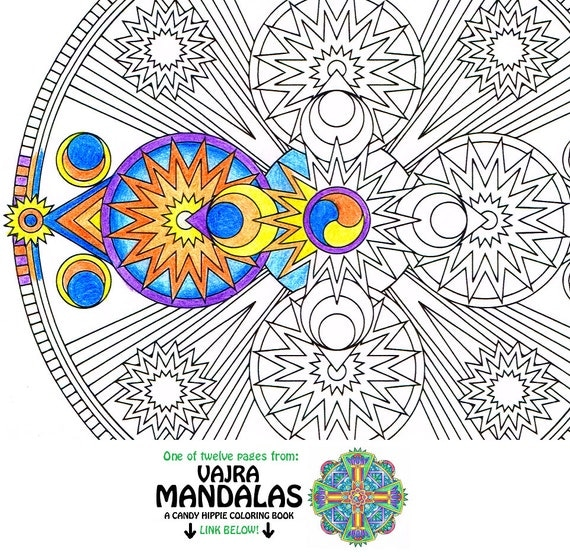 Mandala Coloring Page Space Vajra printable art coloring