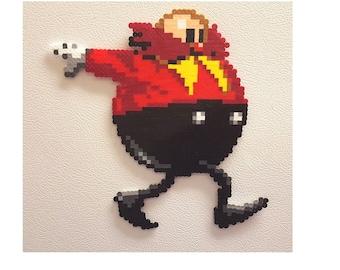 Dr. Robotnik perler, sonic the hedgehog, bead sprite, Eggman, 8 bit pixel art, Sonic 2, Sonic 3, sega genesis, shadow, Sonic, Tails