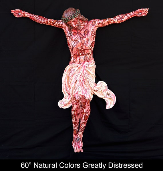 "Jesus Crucified Corpus Cross 60"" Fiberglass Catholic Christian Religious Statue"