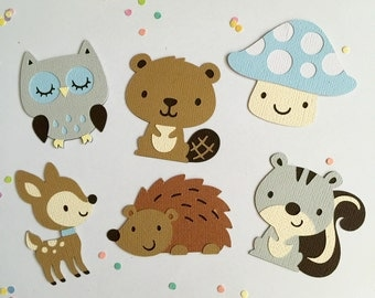 Woodland Themed Die Cuts - Set of 12 -  Baby Boy