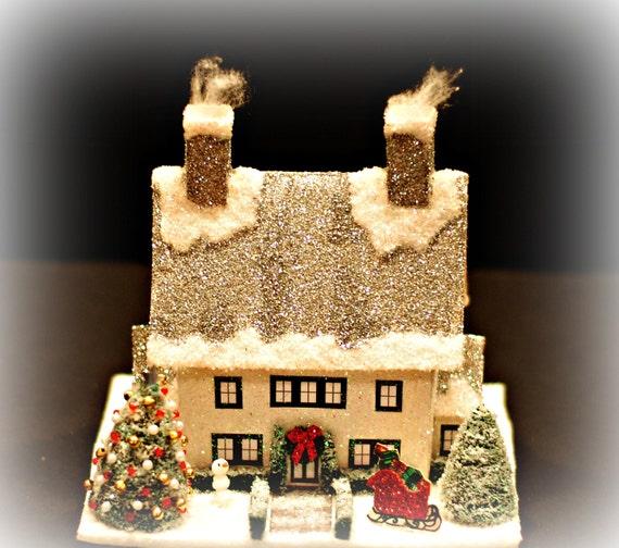 Glitter house handmade glittered house christmas village - Luxury homes decorated for christmas model ...