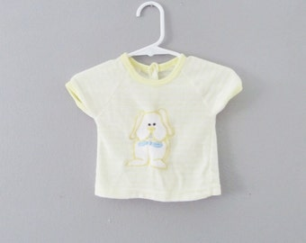 Vintage 1960's Baby Yellow Sweater Shirt / Puppy Dog Infant Newborn Shirt Size 0-3 Mos Terrycloth