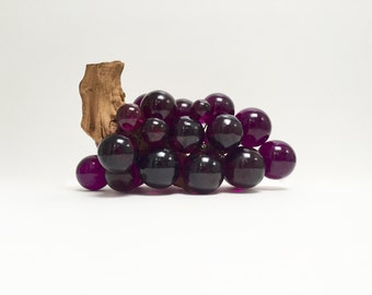 Mid century oversized lucite grapes on real grapevine | purple grapes | tabletop fruit decor