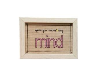 Nicki Minaj Speak Your Mind framed cross stitch