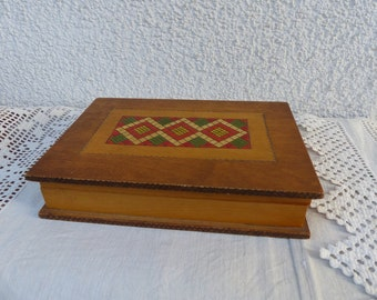 Vintage carved Wooden Box / Wooden box Book / Carved box / large wood jewelry box / ethnic style wooden box / large wooden box