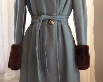 Vintage 1940's blue wool coat with shoulder pads and  faux fur trim