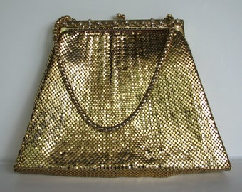 Vintage Purse Whiting Davis Mesh Rhinestones Evening 1940s Handbag