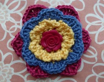 Multi-layer crochet flower pin/clip (Yellow/pink/blue)