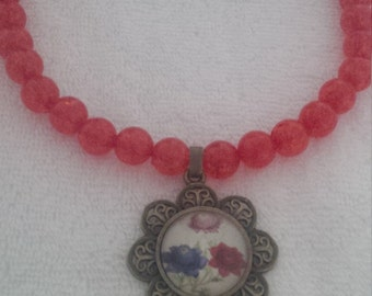 Red Beaded Glass Dome Flower Pendant  (#476)