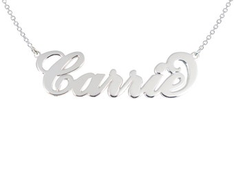 Name Necklace Sterling Silver Any Name   Personalized Carrie Necklace 925 Carrie style necklace