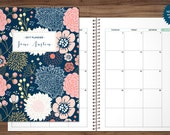 2018 MONTHLY planner / 12 month calendar / choose your start month / 2018 2019 month at a glance planner MAG / navy pink gold floral