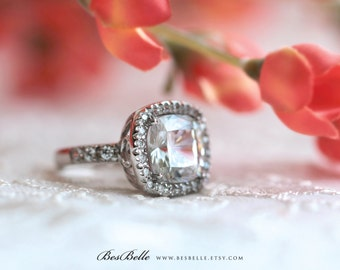 6.29 ct.tw Halo Engagement Ring-Cushion Cut Diamond Simulants-Bridal Ring-Wedding Ring-Promise Ring-Solid Sterling Silver [4412]