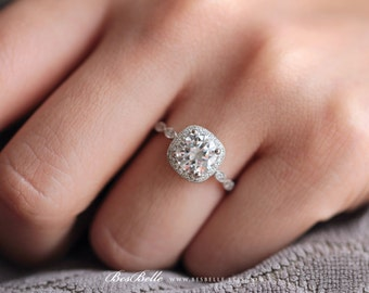 1.95 ct.tw Art Deco Ring-Halo Engagement Ring-7.5mm center Brilliant Cut-Bridal Ring-Wedding Ring-Promise Ring-Sterling Silver [6053-1]