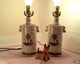 Shabby Chic Southern Colonial Lamps Couple Southern Plantation Image