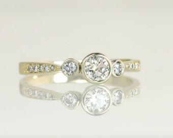 Estate Vintage 14K Yellow Gold .40ct Genuine Diamond Engagement Ring 2.3g