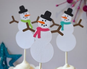 Snowman Christmas Cupcake Toppers Hot Pink, Lime Green and Turquoise  By The Dozen 12