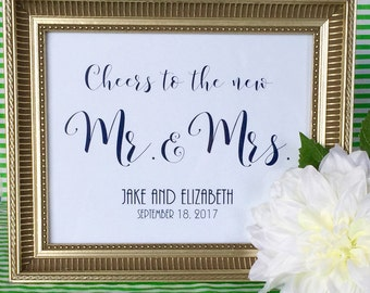 Custom Cheers to the New Mr and Mrs Sign - Bar Sign - Art Print - Wedding - Wedding Reception - Bride and Groom - Wedding Date - 5x7 or 8x10