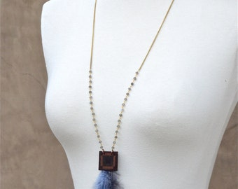 Wood and Feather Necklace, Wood Necklace, Wood Jewelry, Feather Jewelry