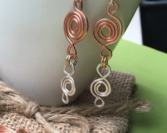 Silver and Bronze Spiral Earrings