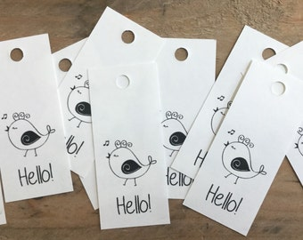 Hello Paper Tag, Bird Tag, Friendship Label, Hi Hang Tag, Custom Packaging, Custom Gift Tag, Paper Gift Label, Gift Wrapping Black and White