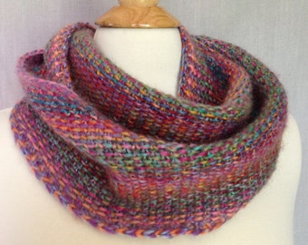 Linen Stitch Infinity Scarf - hand-knit