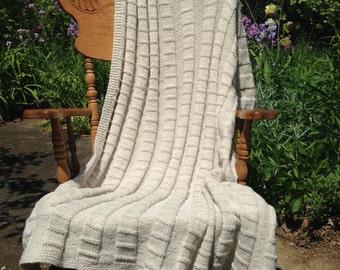 BLANKET:  Fog and Crimes - hand-knit - wool blend