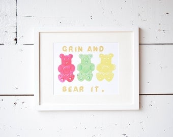 Gummy bear 8 x 10 print, watercolor print, wall decor, wall art prints, watercolor painting, office decor for women,office decorations,print