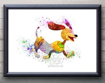 Disney Pixar Toy Story Slinky Dog Watercolor Poster Print - Watercolor Painting - Watercolor Art - Kids Decor- Nursery Decor