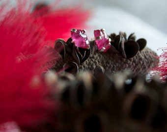 Raw Ruby Studs with Sterling Silver Claw Setting