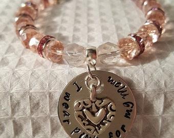 Glass beaded 'I wear pink for my Mom' cancer awareness bracelet