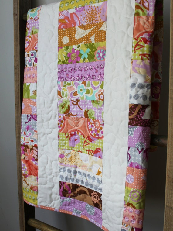 Modern baby girl quilt girl nursery bedding lavender pink peach girl toddler quilt homemade - Modern baby girl crib bedding ...
