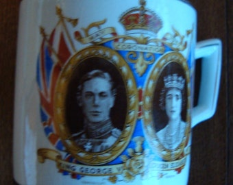 King George VI and Queen Elizabeth 1937 Coronation Vintage Teacup or Coffee Mug by Wagstaff & Brunt - Made in England