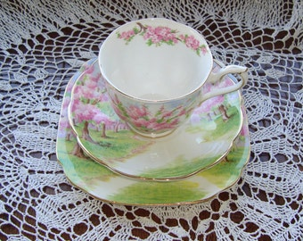 Blossom Time Trio by Royal Albert Bone China England - Vintage Tea Cup, Saucer and Bread and Butter Plate - Scenic - Trees with Pink Flowers