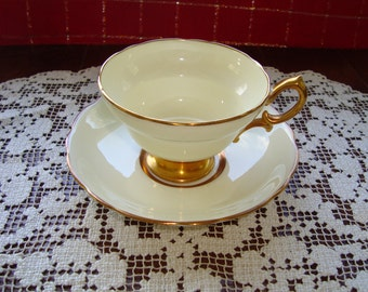 Lemon Chiffon Hammersley & Co - Made in England Bone China - Vintage Tea Cup and Saucer - Gold Pedestal Foot and Handle