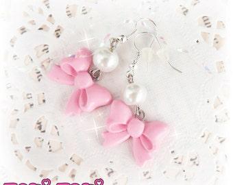 Pink Pearl Bow Earrings, Pearl Earrings, Kawaii Jewelry, Sweet Lolita Earrings, Polymer Clay Earrings, Pastel Goth Earrings, Cute Jewelry