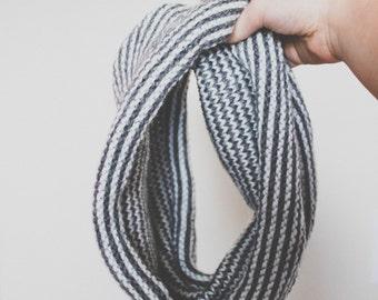 Hand Knit Women's Winter Cowl // Neck Warmer { gray + white }