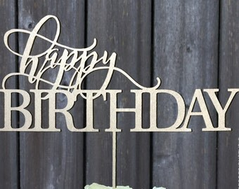 Cake Topper, Happy Birthday Cake Topper, Birthday Cake Topper,  Celebration Cake Topper,Laser Cut Cake, Topper by wood words designs