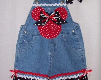 Custom boutique Minnie Mickey overalls with hair bow all sizes available