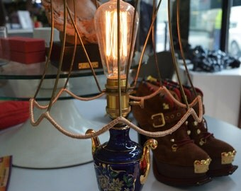 Retro victorian steampunk bedside lamp made with a ceramic 60s lamp handpainted
