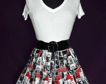 The Walking Dead Comic Strip Print Ruffled Circle Skirt with Lace