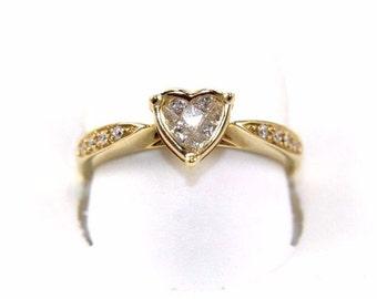 Fine Heart Shape Princess Cut Cluster Diamond Fashion Ring 14k Yellow Gold .30Ct