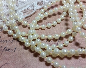 Round Pearl Trim 4mm. (Vintage Cream)-Accessories, Bridal, Scrapbook, Journal, Mixed Media, Embellishment, Altered Projects,