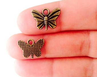 CLOSING SALE 18 pcs Antique Bronze Tone Charms, Small Butterfly Charms, BRB 011