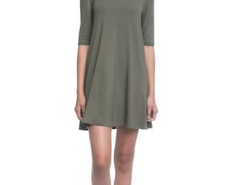 Olive green Dress Fall Backless Mini Dress Open back Casual skater Dress for Woman - Salina