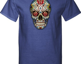Men's Skull Shirt Sugar Skull with Roses Tall Tee T-Shirt WS-16553-PC61T