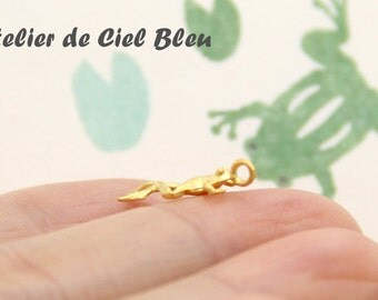 Tiny Frog Charm - Matt Gold Plated Frog Charm - Tin Forg Charm - Pond Jewelry - Leap Frog Jewelry
