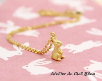 Bunny Necklace, Rabbit Necklace, Tiny Bunny Necklace, Tiny Rabbit Necklace, Matt Gold Bunny Necklace, Tiny Gold Rabbit Charm
